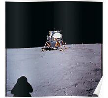 Apollo Archive 0031 Moon Lander on Lunar Surface and Astronaut Shadow Poster