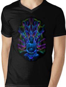 Psychedelic Buddah Mens V-Neck T-Shirt