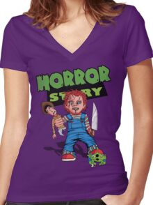 Horror Story Women's Fitted V-Neck T-Shirt