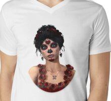 Day of the Dead Crimson Evening Mens V-Neck T-Shirt