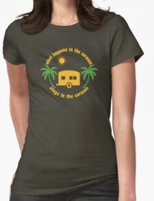 Funny Caravan Camping Trailer Park Joke Quote Womens Fitted T-Shirt