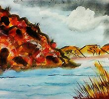 A nice place to go rafting, watercolor by Anna  Lewis, blind artist