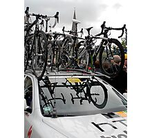 Reflections of Team Bicycles in the HTC High Road,Team Car windscreen, at the Start of the Tour of Britain, Peebles.            Photographic Print