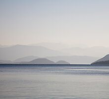 Dawn looking from Kucuk Sarsala towards Gocek on the north end of the Gulf Of Fethiye by cpcphoto