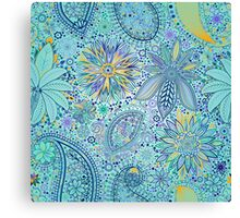 Abstract Lace - Cyan Canvas Print