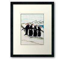 Holiday Penguin, watercolor Framed Print