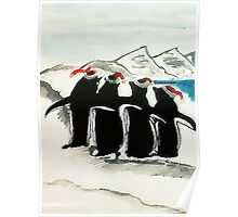 Holiday Penguin, watercolor Poster