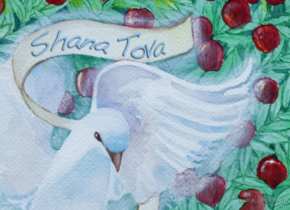 Rosh Hashanah Dove with Apples by Laura J. Holman