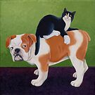 Bulldog and Cat by vickymount