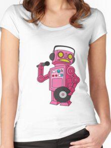 hey robot dj Women's Fitted Scoop T-Shirt