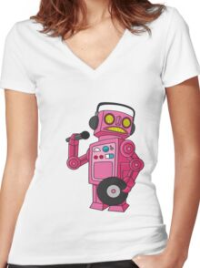 hey robot dj Women's Fitted V-Neck T-Shirt