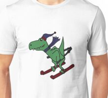 Funny Green T-Rex Dinosaur Skiing Cartoon Unisex T-Shirt