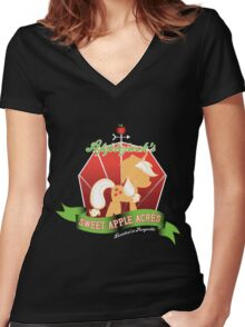 Applejack's Sweet Apple Acres Women's Fitted V-Neck T-Shirt