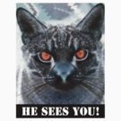 HE SEES YOU! (STICKER) by Anthony Trott