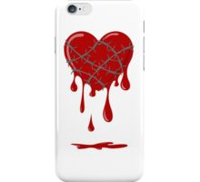 Bleeding Heart Silver Barbed Wire iPhone Case/Skin
