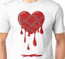 Bleeding Heart Silver Barbed Wire Unisex T-Shirt