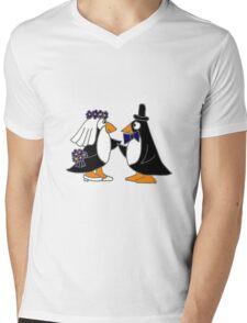 Awesome Penguin Bride and Groom Art Original Mens V-Neck T-Shirt