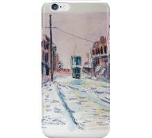 Snowy tram cat iPhone Case/Skin