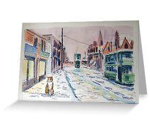Snowy tram cat Greeting Card