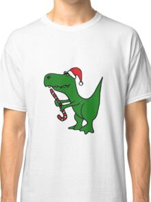 Cool Funky Christmas Green T-Rex Dinosaur in Santa Hat  Classic T-Shirt