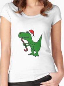 Cool Funky Christmas Green T-Rex Dinosaur in Santa Hat  Women's Fitted Scoop T-Shirt