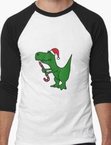 Cool Funky Christmas Green T-Rex Dinosaur in Santa Hat  Men's Baseball ¾ T-Shirt
