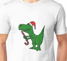 Cool Funky Christmas Green T-Rex Dinosaur in Santa Hat  Unisex T-Shirt