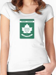 Ontario, Trans-Canada Highway Sign Women's Fitted Scoop T-Shirt