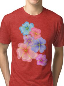 Pretty pastel flower drawing in pink, lilac and blues Tri-blend T-Shirt