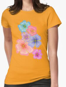 Pretty pastel flower drawing in pink, lilac and blues Womens Fitted T-Shirt