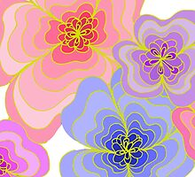 Pretty pastel flower drawing in pink, lilac and blues by LyricalSixties