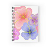 Pretty pastel flower drawing in pink, lilac and blues Spiral Notebook