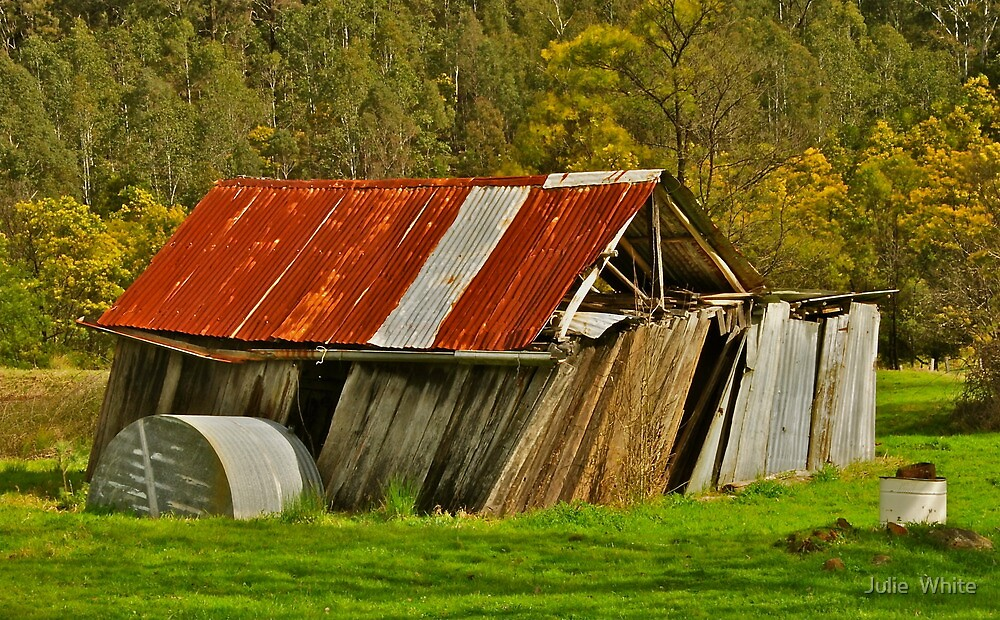 Leaning Shack. by Julie  White