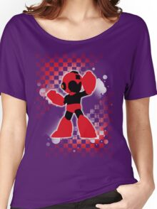 Super Smash Bros. Red Mega Man Silhouette Women's Relaxed Fit T-Shirt
