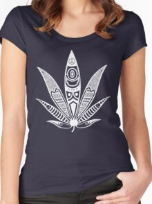 white psychedelic ganja  Women's Fitted Scoop T-Shirt
