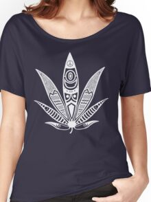 white psychedelic ganja  Women's Relaxed Fit T-Shirt