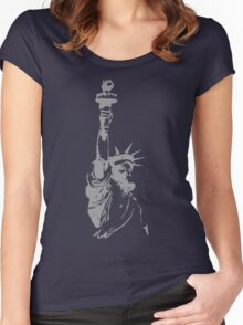 Statue of Liberty with ABC mask Women's Fitted Scoop T-Shirt