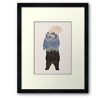 Bear with woodland scene Framed Print