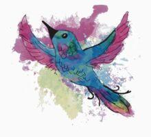 Watercolour Bird One Piece - Short Sleeve
