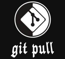 git pull - Black/White Parody Design for Software Developers Kids Tee