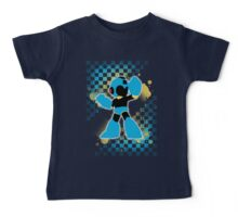 Super Smash Bros. Cyan/Light Blue Mega Man Silhouette Baby Tee