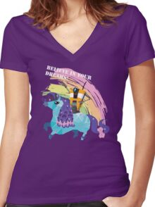 BELIEVE IN YOUR DREAMS! Women's Fitted V-Neck T-Shirt