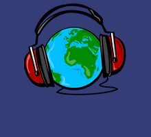 Earth with headphones color Unisex T-Shirt