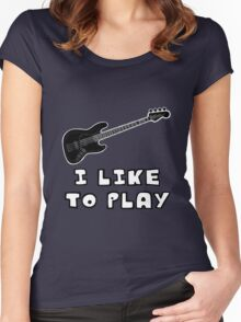 I Like to Play Bass Guitar Women's Fitted Scoop T-Shirt