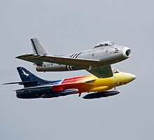 Hawker Hunter F58 Miss Demeanour and F86 Sabre by PhilEAF92