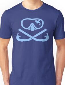 Hai in diving mask with snorkel crossed Unisex T-Shirt