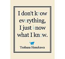 Monogatari - Hanekawa - Know what I know (Blue) Photographic Print