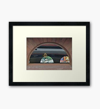 Station Stop and a Look Back in Time Framed Print