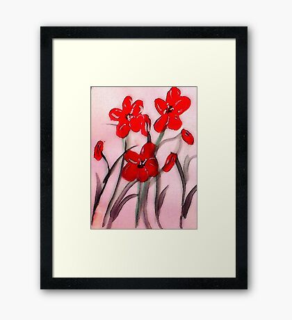Red flowers, (bamboo brush),  watercolor Framed Print
