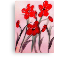 Red flowers, (bamboo brush),  watercolor Canvas Print